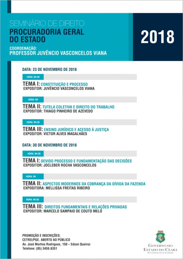 Profissionais do meio jurídico e estudantes de direito poderão participar gratuitamente do Seminário de Direito, a ser realizado nos dias 23 e 30 de novembro.